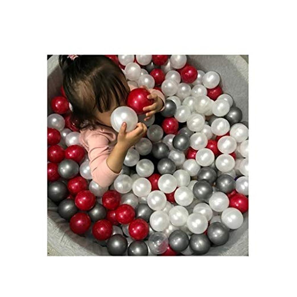 砲撃メモ正午パーリープレミアムオーシャンボールカラフルなゲームボール環境保護肥厚祝賀パーティーデコレーションピットボールの100pcsベビークラッシュ耐力ボールミックス子供のおもちゃボール (Color : Pearl red+white+sliver)