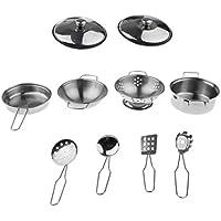 baoblaze 10pcs子供ごっこ遊びキッチン料理調理用品おもちゃ、ステンレススチール調理器具セットB – Pots & Pans,アソートカラー