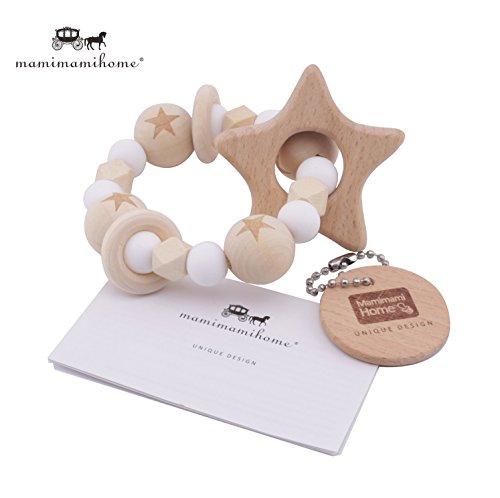Mamimami Home 木育 歯固め 星型 ラトル 赤ちゃんのおもちゃ チュアブル ブレスレット 授乳ジュエリー 歯がため シリコーンホワイトビーズ [BPAフリー]