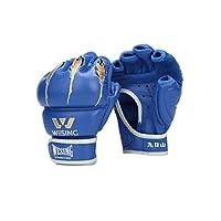 8HAOWENJU ハーフフィンガーボクシンググローブ、アダルトサンダ、格闘技の戦い、総合格闘技の手袋、テコンドーのサンドバッグ、サンドバッグの手袋、UFCフィンガーグローブ、PUレッド(1ペア) 消費者の最良の選択 (Color : Blue, Design : 6oz)