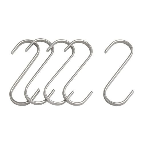 IKEA GRUNDTAL S字フック 11cm ステンレススチール 5個セット (70176388)