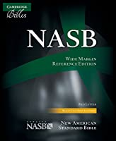 NASB Wide Margin Reference Bible, black calfsplit leather, red letter text