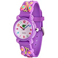 Wolfteeth Starter Watch Girls Analog Wrist Watch Water Resistant School Day Outdoor Sport Watch Butterfly Watchband 3085
