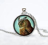 フクロウのペンダントのフクロウのネックレスジュエリーネックレス白フクロウは彼の芸術プレゼントのために男性アートギフトのための彼女のために