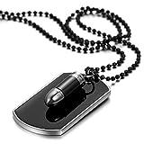 JewelryWe メンズ 合金 アロイ ペンダント ネックレス チョーカー シルバー ブラック 弾丸 銃弾 ドッグタグ 軍 研磨 ;父の日 記念日, 27.5 インチ チェーン (ギフトバッグを提供)
