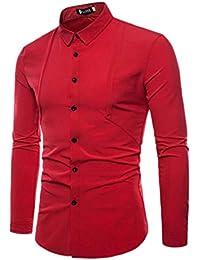 Fly Year-JP メンズボタンダウンピュアカラーは、ラペルカジュアルロングスリーブドレスシャツを着用する