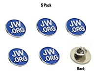 Jehovah Witness - 3/4 Round Blue Lapel Pin - JW.org Neck Tie Hat Tack Clip Women or Men Suits ( 5 Pcs in Package) (Silver-Plated) by JW Supplies