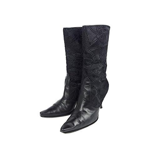 (スチュワートワイツマン) STUART WEITZMAN ウェスタン ミドル ブーツ ヒール 靴 37 1/2 (24cm) ハラコ レザー フラワーモ... 中古