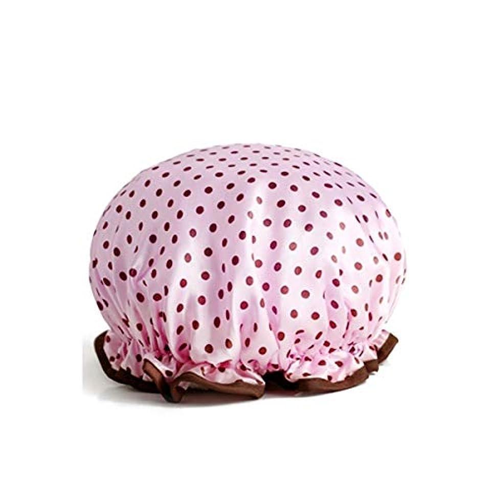 アルカイック心のこもったラビリンスLBLMS シャワーキャップ、防水大人の女性のシャワーキャップ、シャワーシャワーキャップ、シャンプーキャップ、かわいいスカーフは、台所の女性は、4色のキャップを吸うオプション (Color : Wave pink)