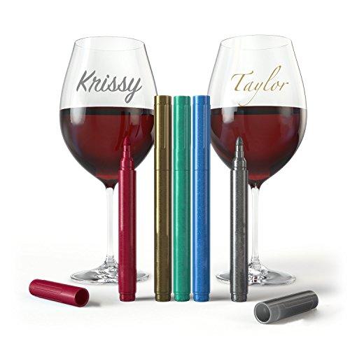 ワイングラスマーカーペン–パーティーパックの5メタリック色ワインチャームAlternativeまたはPerfectギフト–No Smearing &高速乾燥–食品グレード