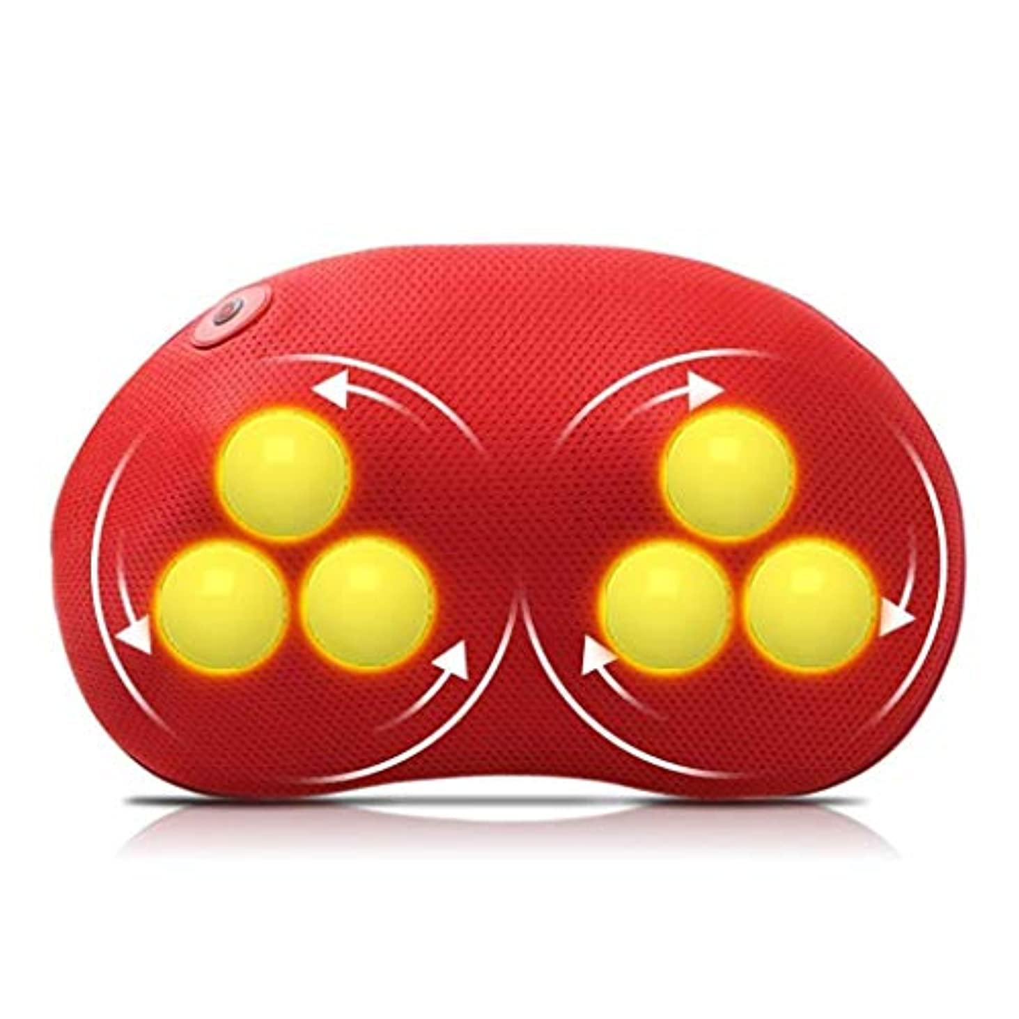 頼るレディ親密なマッサージ枕、首と背中の3Dマッサージ、熱、深練り、首と背中、肩のリラクゼーション筋肉、ホームオフィスでの使用 (Color : 赤)