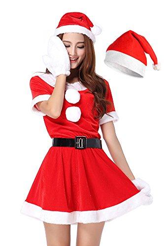 R-STYLE 超かわいい & セクシー サンタ ミニワンピ 衣装 クリスマス コスプレ サンタ (ミニスカサンタA 4点セット+帽子)
