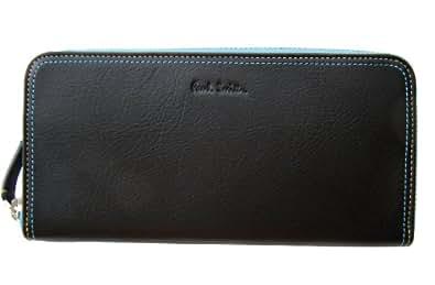 [ポールスミス]Paul Smith コントラストダ 牛革 ラウンドファスナー 長財布 専用箱付 黒×青系 メンズ