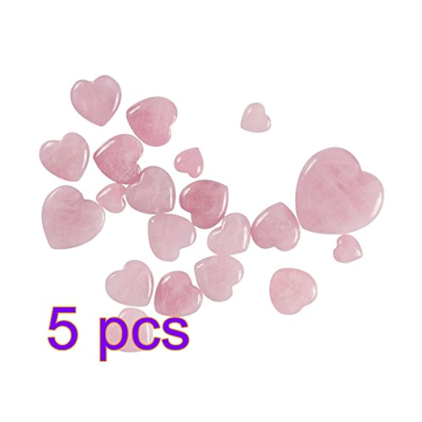 固体小さいなすWINOMO 5本のヒーリングクリスタルナチュラルローズクォーツパフィーハートシェイプパームストーンクリスタルヒーリング宝石のホームインテリア