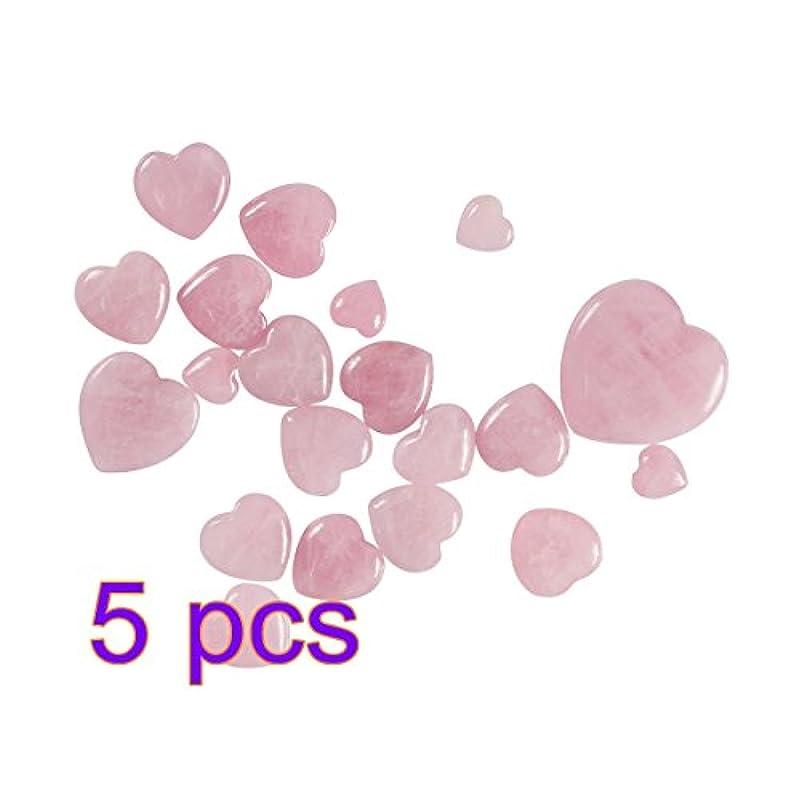 パラダイス植物の系譜WINOMO 5本のヒーリングクリスタルナチュラルローズクォーツパフィーハートシェイプパームストーンクリスタルヒーリング宝石のホームインテリア15x15x10mm