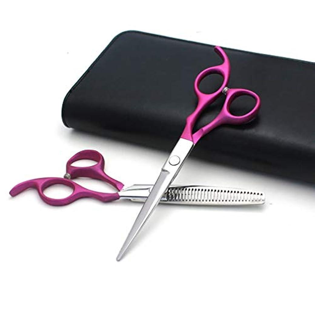 美容院のはさみは6.0インチ、大広間、理髪師または家の使用のための専門の毛のはさみそして理髪の薄くなるはさみを、軽くそして鋭く設定します,Pink