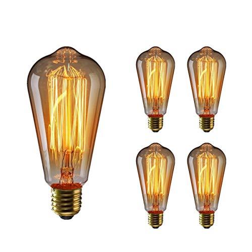 エジソン電球60W KINGSO 4個入E26 110V ST64-19アンカー ヴィンテージ アンティークスタイル タングステン フィラメント電球 タングステン ガラスライト ホーム照明 装飾用器具