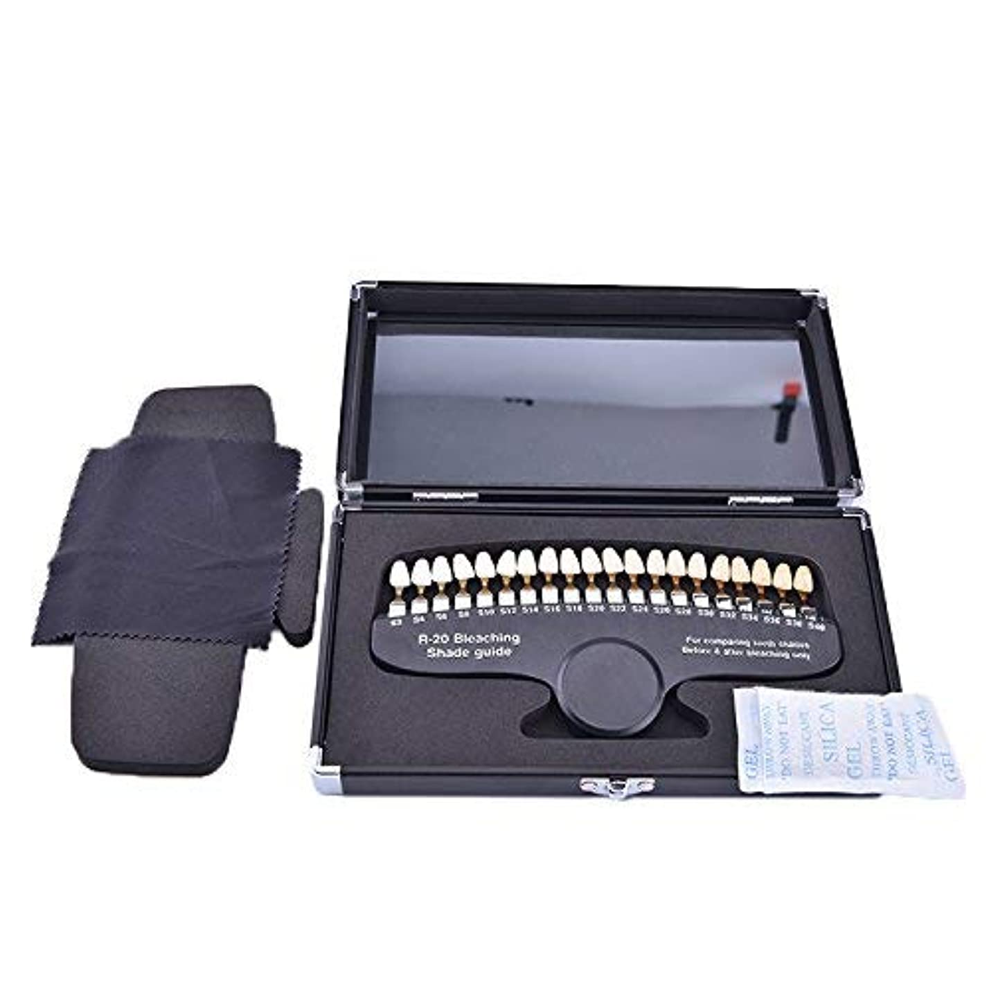 セットアップ切り刻む隔離するデンタル ホワイトニング シェード ガイドー 20色デンタル専用抜ける歯列模型ボード 鏡付き