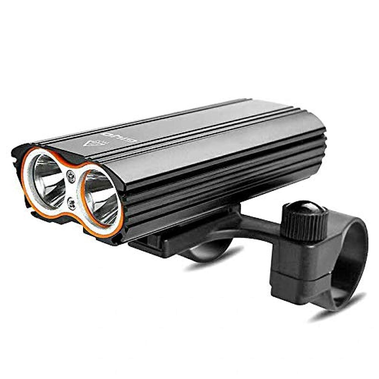 災難強制的無意味自転車ライト USB充電式 2つ18650電池付き 4モード点灯 高輝度 IP-65防水 防振 アルミ合金製 懐中電灯兼用