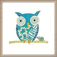 ポスター サラ バトル Big Owl、 Little Snail 額装品 ウッドベーシックフレーム(オフホワイト)