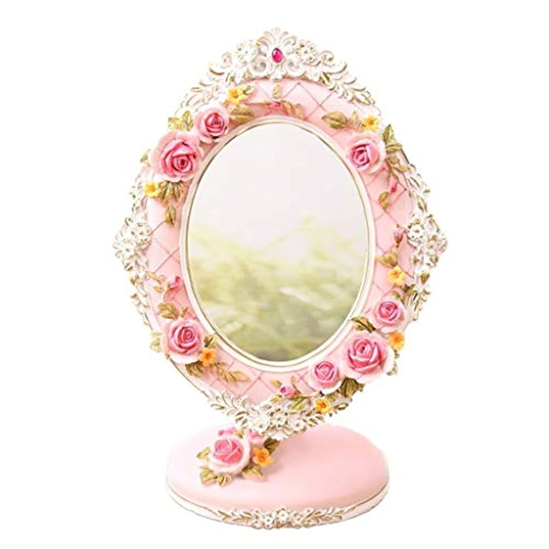 インレイ昨日手錠Selm 化粧のためのデスクトップミラー、自然光72度回転自立化粧台ベッドルームに適し、バラの彫刻