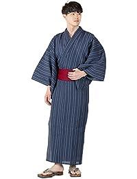 [キョウエツ] 浴衣セット しじら 綿麻 C 新サイズ 4点セット (浴衣、角帯、下駄、腰紐) メンズ