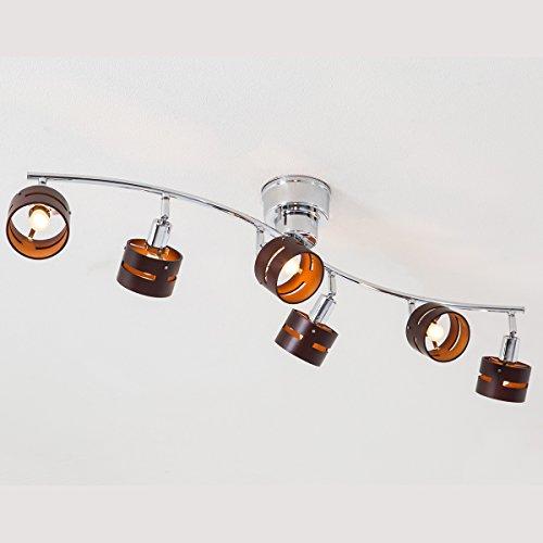 【高級感ある6灯シーリングライト 木の温もりあるプライウッド照明