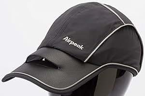 Airpeak Speed(エアピーク スピード)/フリーサイズ(54-60cm)/横ロゴ/ランニング・テニス向け (ブラック)