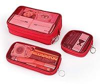 Chennong 化粧箱、3の透明メッシュ化粧品袋セット、ポータブル旅行化粧品袋収納袋、美容ネイルジュエリー収納ボックス (Color : Red)