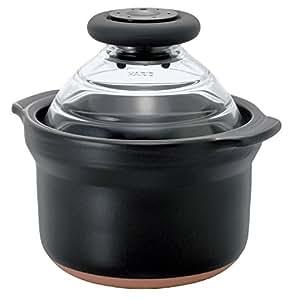 HARIO (ハリオ) フタがガラスのご飯釜 1合専用 萬古焼 炊飯 土鍋 GNN-150B