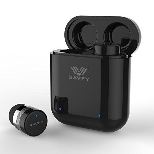 【進化版 IPX7 Bluetooth 5.0 】bluetooth 5.0 イヤホン イヤホン bluetooth 完全ワイヤレスイヤホン ブルートゥースイヤホンスポーツイヤホン 高音質 タッチ式 マイク付き 片耳 両耳とも対応 充電ケース付き iPhone X/8/7、サムスンS8/S7/Androidなど 対応 SAVFY ブラック