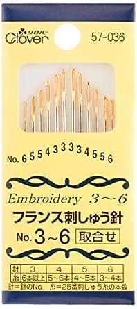 Clover フランス刺しゅう針 取合せ No.3~6 12本入り 57-036