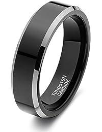 TICENTRAL メンズ タングステン リング 鏡面加工 金属感 高級 平打ち 幅 6mm 指輪 シンプル カラー:ブラック 黒 (18)