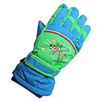 飛行機のパターン キッズスノー手袋 スキーグローブ 保温 防寒 防風 滑り止め 雪遊び スポーツ アウトドア 通学用 5本指