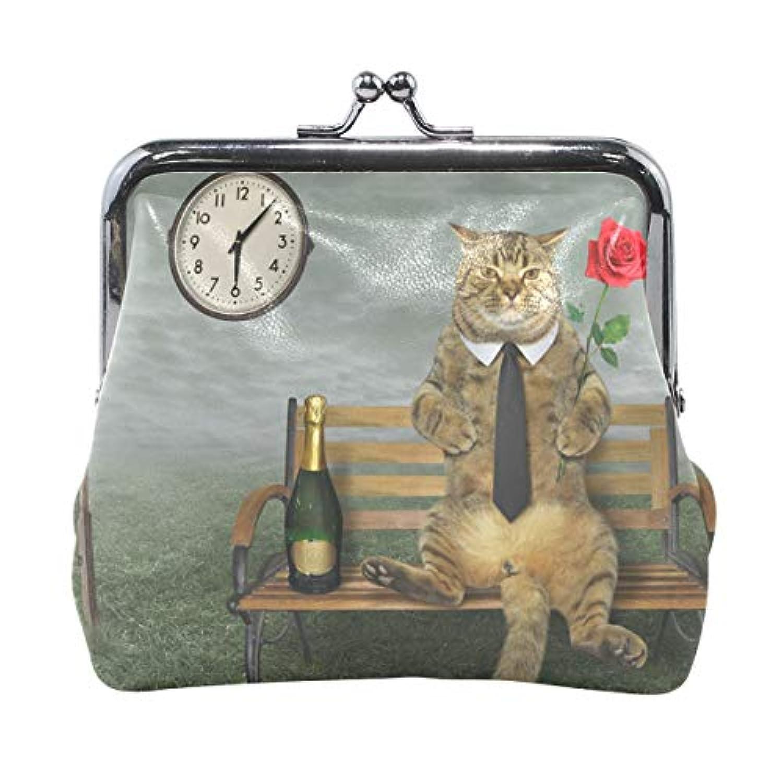 AOMOKI 財布 小銭入れ ガマ口 コインケース レディース メンズ レザー 丸形 おしゃれ プレゼント ギフト オリジナル 小物ケース 薔薇柄 猫柄
