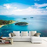 Slzlhc 海辺の風景島3D壁壁画壁紙ロマンチックな快適な家の装飾の壁紙-250X175Cm