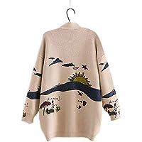Woman Sweater Knitting Japanese Mori Girl V Neck Jacquard Cardigan Sweater Winter