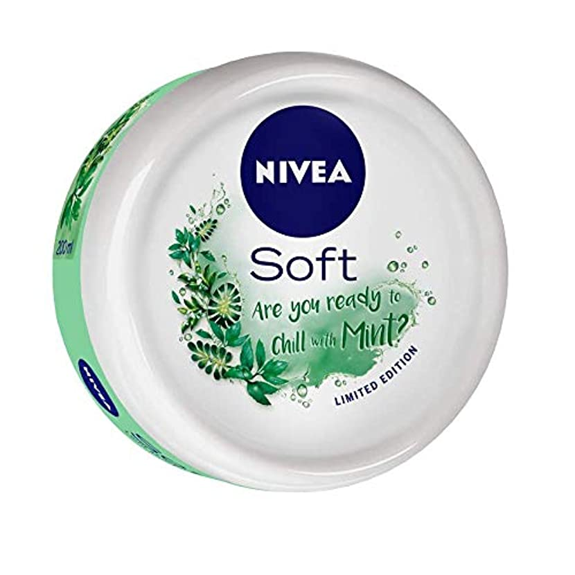 遠え週末変位NIVEA Soft Light Moisturizer Chilled Mint With Vitamin E & Jojoba Oil, 200 ml