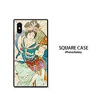 iPhoneX ケース 強化ガラスケース 背面ガラス TPU 光沢 ツヤ スクエア スマホケース おしゃれ アジア 天女 日本神話 B 301-sanmaruichi-