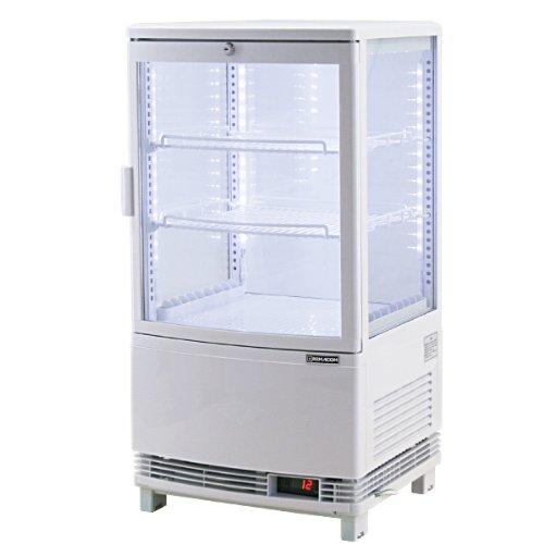 レマコム 4面ガラス冷蔵ショーケース(LED仕様) 前開きタイプ 63リットル 幅425×奥行412×高さ837(mm) RCS-4G63SL