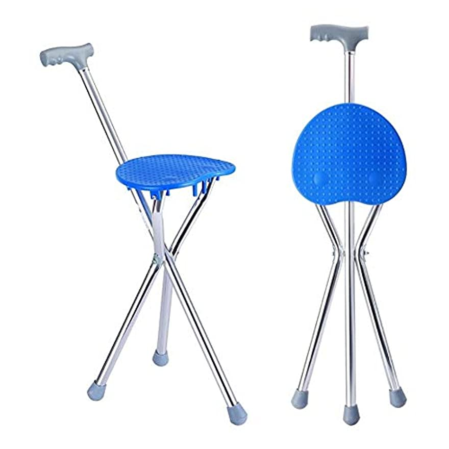 賛美歌胚ジョージスティーブンソンZWW-松葉杖 松葉杖頑丈なウォーキングシートスティック - 三の足のスティックでスツール折りたたみ椅子スティック医療ポータブル (Color : Blue)