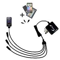 一意Gomadic 4- portインテリジェントなコンパクトACホーム壁充電器Suitable for the Sony Walkman nwz-e436F–高出力電源with a便利な、折りたたみ式プラグデザイン–Uses TipExchangeテクノロジー
