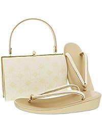 [ 京都きもの町 ] 礼装 草履バッグセット「ゴールド 輪繋ぎに菱文」M、L 訪問着、留袖に フォーマル 結婚式、式典、卒業式、入学式に
