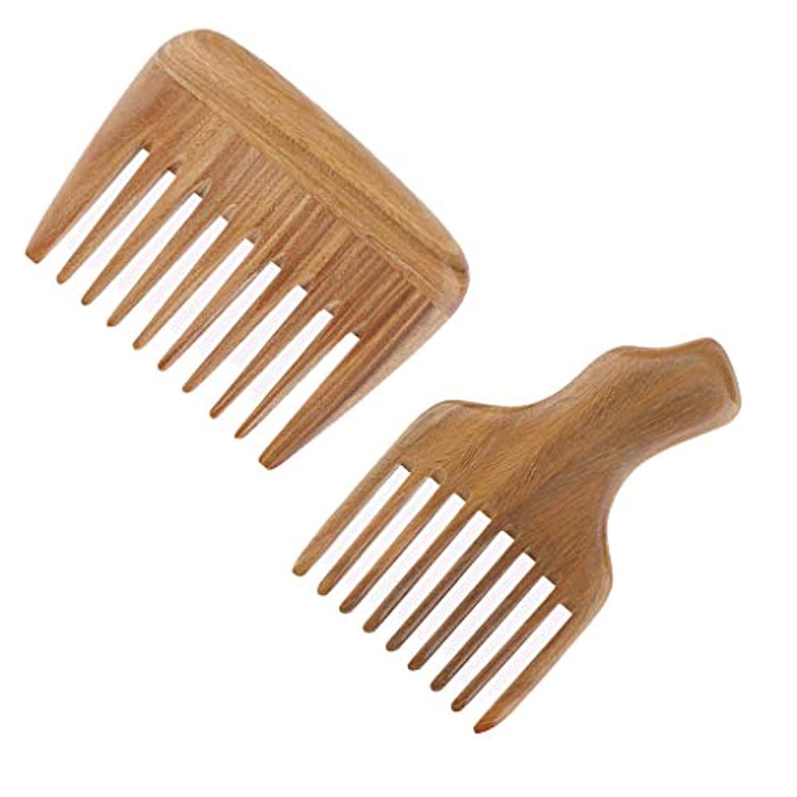 ユダヤ人遅滞弾性P Prettyia 2個 木製櫛 ヘアコーム ヘアブラシ 帯電防止 くし 櫛 高品質