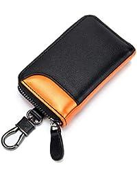 キーケース メンズ カードキーケース レザー スマートキーケース 車キーケース 本革 6連 2つ外側ポケット カード入れ カラビナ付き 大容量