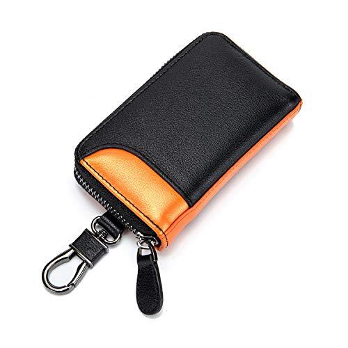 キーケース メンズ カードキーケース レザー スマートキーケース 車キーケース 本革 6連 2つ外側ポケット カード入れ カラビナ付き 大容量 (ブラック×オレンジ)