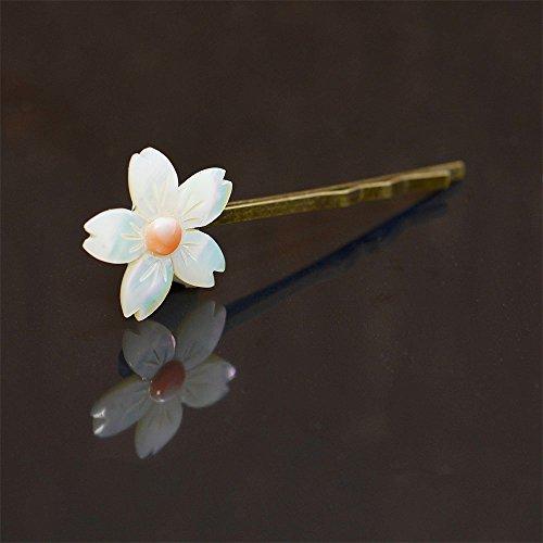 桜 夜光貝 & 桃色珊瑚 ヘアピン アンティーク調 ヘアアクセサリー