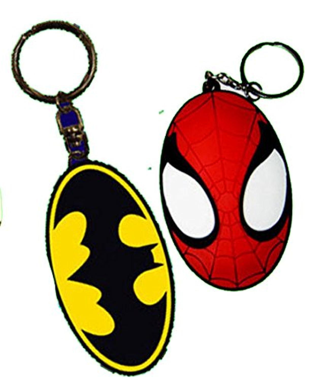 ラバーキーホルダー :バットマン::スパイダーマン 2種類セット マーベルヒーロー