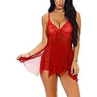 SAMGU Women Babydoll Set Mesh Lingerie Strap Chemise Lace Sleepwear