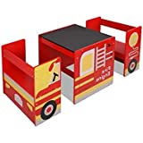 Kids Table and Chairs Set Children Wooden Furniture Fire Engine Truck Red Car